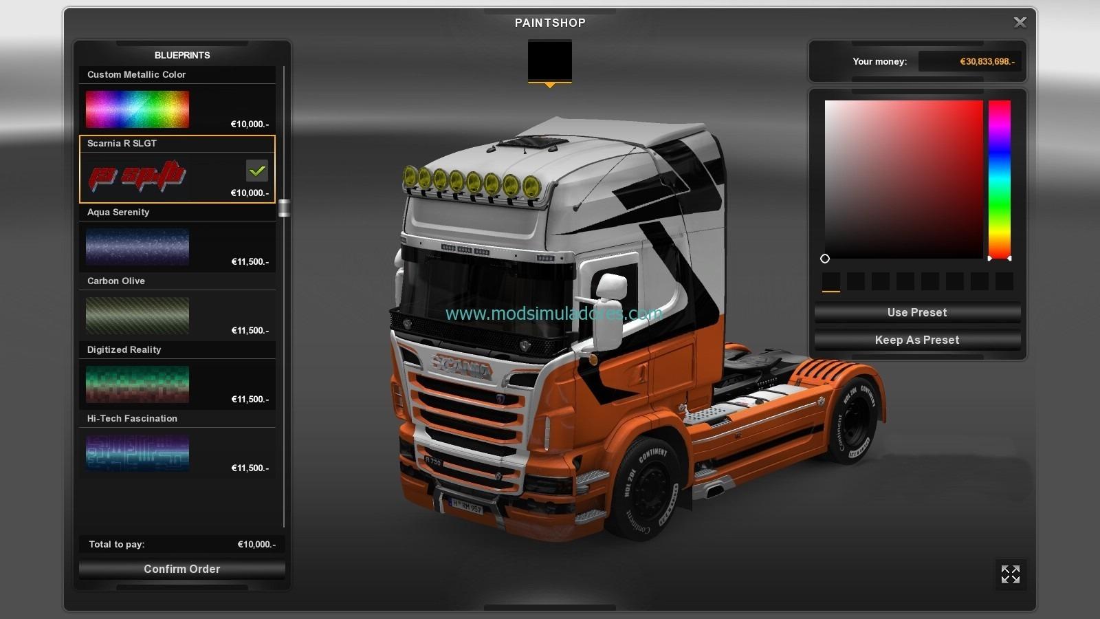 Skin R SLGT Scania Para ETS2