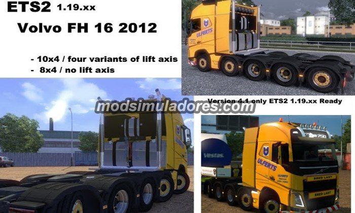 Volvo FH com Chassi 8X4 e 10x4 Para 1.19.X - ETS2