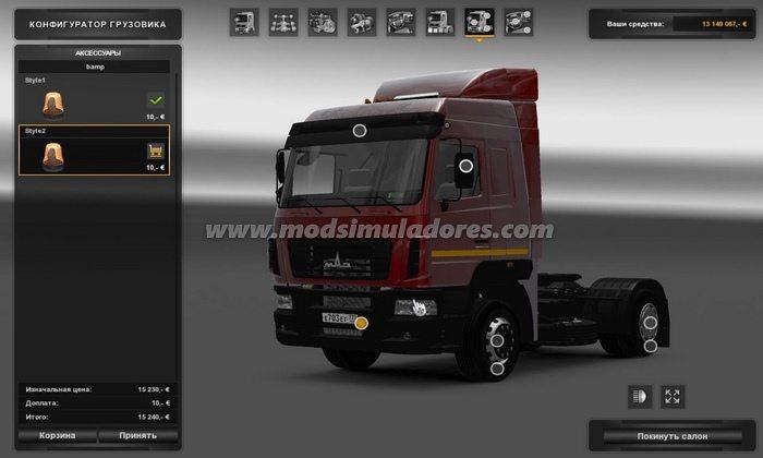 Caminhão Maz 5440E9 Para V.1.22.X - ETS2