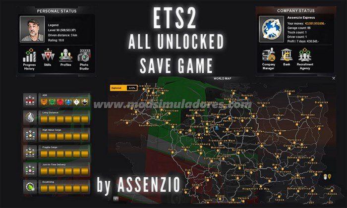 Save Game - Tudo desbloqueado Para V.1.23.X - ETS2
