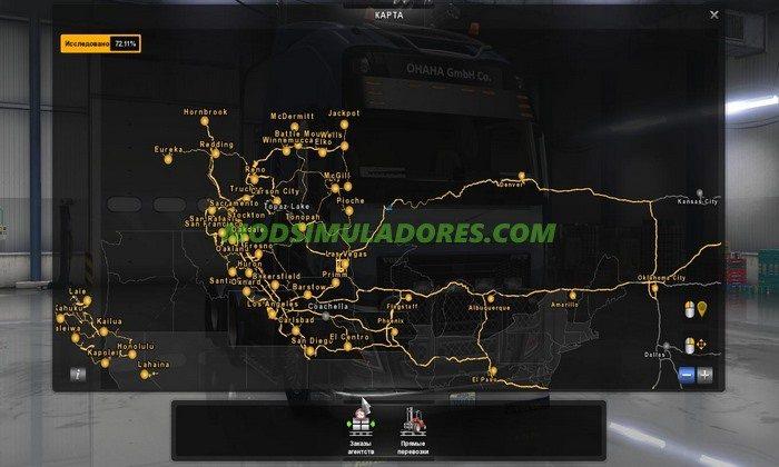 Mapa Costa a Costa com novas cidades Para V.1.4.1.2.X - ATS