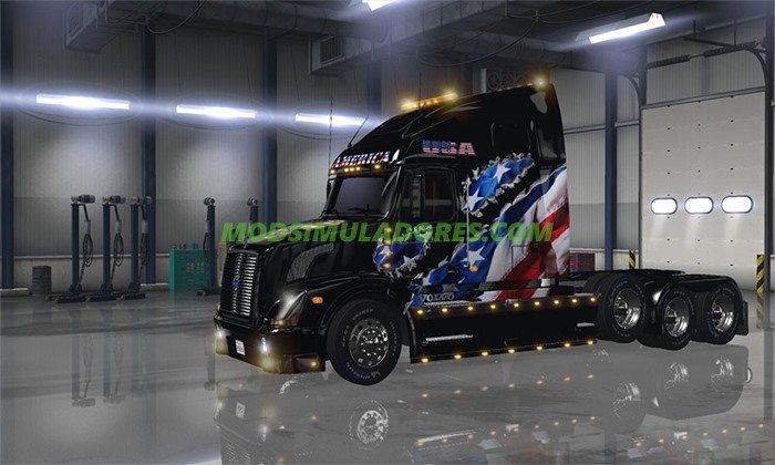 Caminhão Volvo VNL 670 Flag Skin Para v.1.4 - ATS