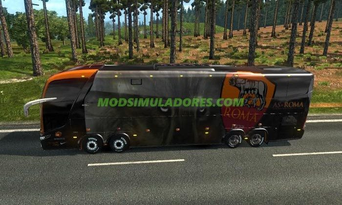 Ônibus Marcopolo G7 1600LD + Skin As Roma Para V.1.26.X - ETS2