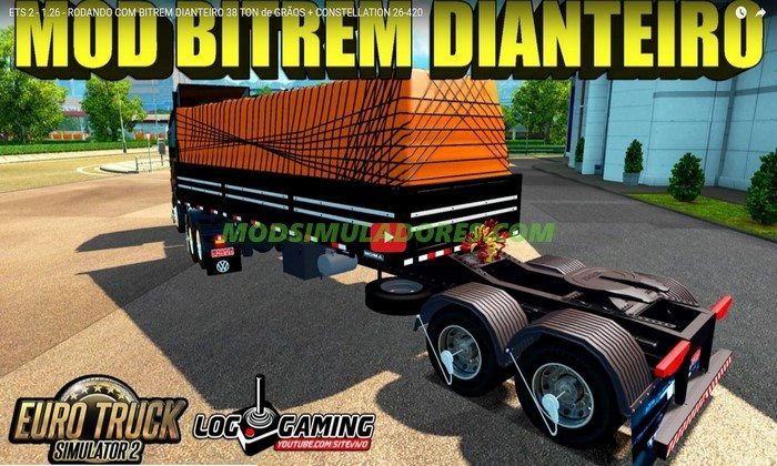Reboque Bitrem Dianteiro Transportando Grãos Para V.1.26.X - ETS2