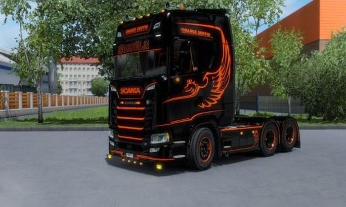 Skins Orange Griffin do Scania S Para V.1.31.X - ETS2