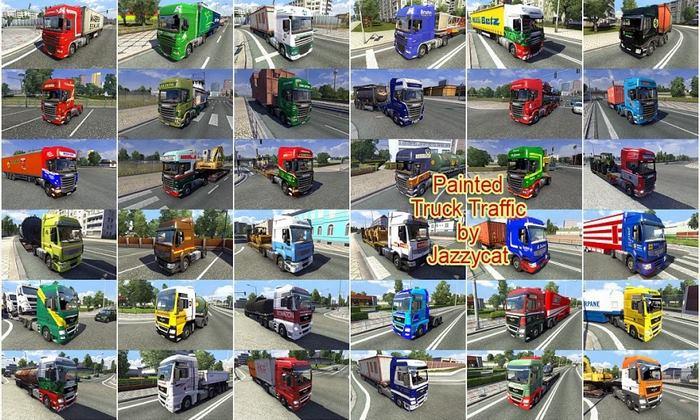 Pack de Caminhões do Tráfego Pintados Para V.6.3 Para V.1.32.X - ETS2