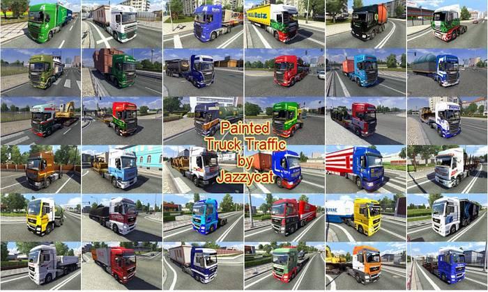 Pack de Caminhões do Tráfego Pintados Para V.6.6 Para V.1.32.X - ETS2