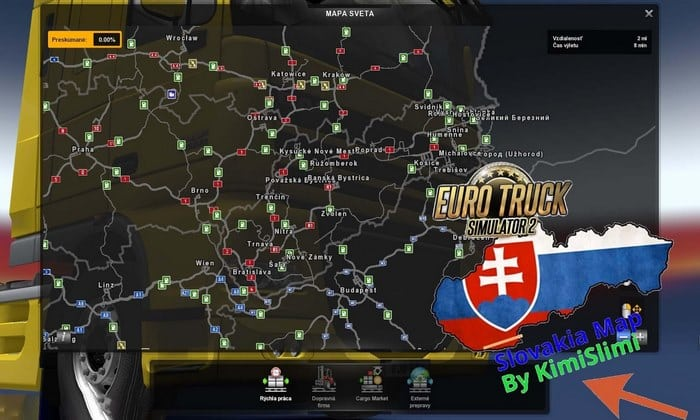 Mapa Nova Eslováquia V.12.0 Para V.1.33.X - ETS2