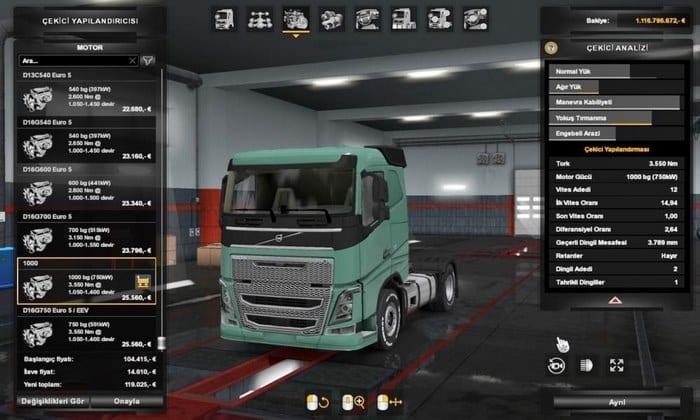 Mod Motor 1000HP Para Caminhões Para V.1.34.X - ETS2