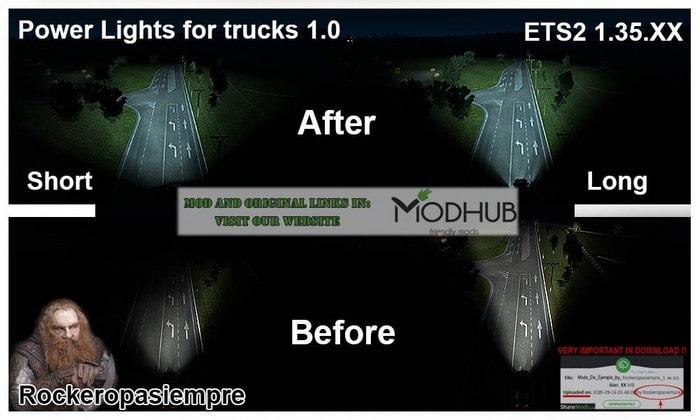 Mod Luzes Mais Forte V.1.0 Para V.1.34.X - ETS2