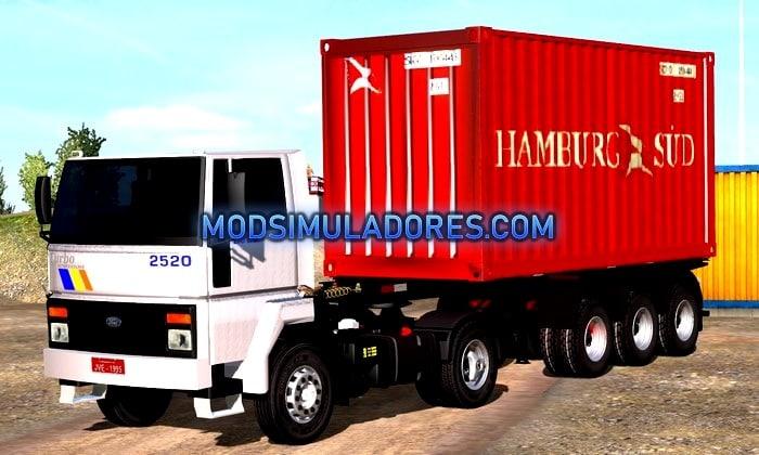 Caminhão Ford Cargo 2520 e Container Para V.1.35.X - ETS2