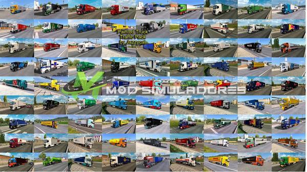 ETS2 Pack de Caminhões Pintados no Tráfego V.12.0 Para V.1.39