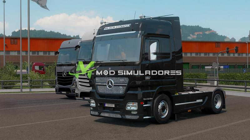 Caminhão Mercedes-Benz Actros MP2 Black Edition V1.2 Para V.1.39.X - ETS2