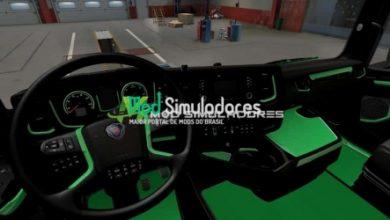 Interior Verde e Preto Scania 2016 Para 1.40.X - ETS2